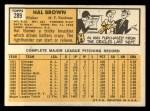 1963 Topps #289  Hal Brown  Back Thumbnail