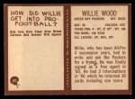 1967 Philadelphia #83  Willie Wood  Back Thumbnail