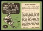 1970 Topps #34  Gilles Marotte  Back Thumbnail