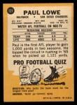 1967 Topps #121  Paul Lowe  Back Thumbnail