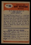1955 Bowman #20  Bert Rechichar  Back Thumbnail