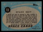 1957 Topps Space Cards #13   Space Suit  Back Thumbnail