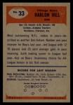 1955 Bowman #33  Harlon Hill  Back Thumbnail
