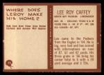 1967 Philadelphia #75  Lee Roy Caffey  Back Thumbnail