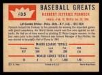 1960 Fleer #35  Herb Pennock  Back Thumbnail