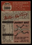 1953 Topps #280  Milt Bolling  Back Thumbnail