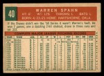 1959 Topps #40 A Warren Spahn  Back Thumbnail