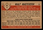 1953 Bowman Black and White #9  Walt Masterson  Back Thumbnail
