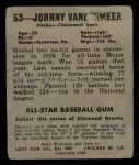 1949 Leaf #53  Johnny Vander Meer  Back Thumbnail