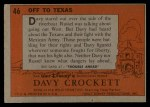 1956 Topps Davy Crockett #46 ORG  Off To Texas  Back Thumbnail