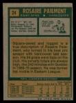 1971 Topps #24  Rosaire Paiement  Back Thumbnail