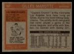 1972 Topps #167  Gilles Marotte  Back Thumbnail