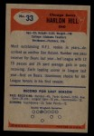 1955 Bowman #33  Harlon Hill  Back Thumbnail