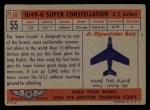 1957 Topps Planes #55 RED  Lockheed 1049-G Back Thumbnail