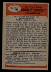 1955 Bowman #16  Charley Conerly  Back Thumbnail