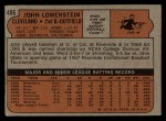 1972 Topps #486  John Lowenstein  Back Thumbnail