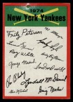 1974 Topps Red Team Checklists #17   Yankees Team Checklist Front Thumbnail