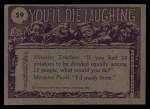 1973 Topps You'll Die Laughing #59   Chocolates ruin my complexion Back Thumbnail