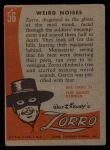 1958 Topps Zorro #56   Weird Noises Back Thumbnail