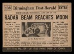 1954 Topps Scoop #138   Radar Beam Reaches Moon Back Thumbnail