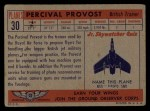 1957 Topps Planes #30 RED  Percival Provost Back Thumbnail