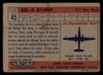 1957 Topps Planes #45 RED  Sg-4 Blimp Back Thumbnail