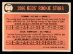 1966 Topps #311   -  Tommy Helms / Dick Simpson Reds Rookies Back Thumbnail