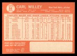 1964 Topps #84  Carlton Willey  Back Thumbnail