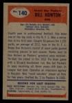 1955 Bowman #140  Bill BillyHowton  Back Thumbnail