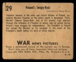 1939 Gum Inc. War News Pictures #29   Poland's Smigly Rydzi Back Thumbnail