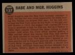 1962 Topps #137 A  -  Babe Ruth / Miller Huggins Babe and Mgr. Huggins Back Thumbnail
