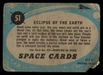 1957 Topps Space Cards #51   Eclipse of the Earth Back Thumbnail