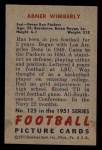 1951 Bowman #125  Abner Wimberly  Back Thumbnail