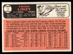 1966 Topps #78  Frank Linzy  Back Thumbnail