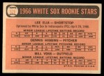 1966 Topps #529   -  Dennis Higgins / Bill Voss / Lee Elia White Sox Rookies Back Thumbnail