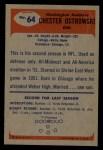1955 Bowman #64  Chester Chet Ostrowski  Back Thumbnail