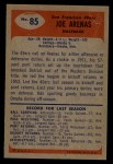 1955 Bowman #85  Joe Arenas  Back Thumbnail