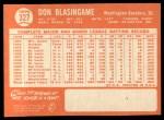 1964 Topps #327  Don Blasingame  Back Thumbnail