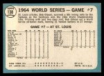 1965 Topps #138   -  Bob Gibson 1964 World Series - Game #7 - Gibson Wins Finale Back Thumbnail