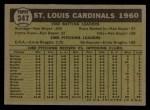 1961 Topps #347   Cardinals Team Back Thumbnail