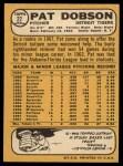 1968 Topps #22  Pat Dobson  Back Thumbnail