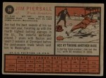 1962 Topps #90  Jimmy Piersall  Back Thumbnail
