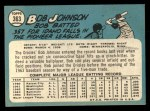 1965 Topps #363  Bob Johnson  Back Thumbnail