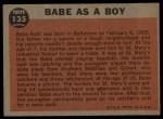1962 Topps #135 NRM  -  Babe Ruth Babe as a Boy Back Thumbnail