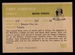 1961 Fleer #185  Tony Sardisco  Back Thumbnail
