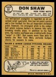 1968 Topps #521  Don Shaw  Back Thumbnail