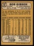 1968 Topps #100  Bob Gibson  Back Thumbnail
