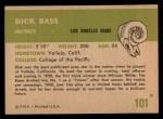 1961 Fleer #101  Dick Bass  Back Thumbnail