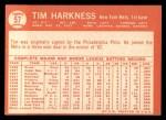 1964 Topps #57  Tim Harkness  Back Thumbnail