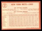1964 Topps #27   Mets Team Back Thumbnail